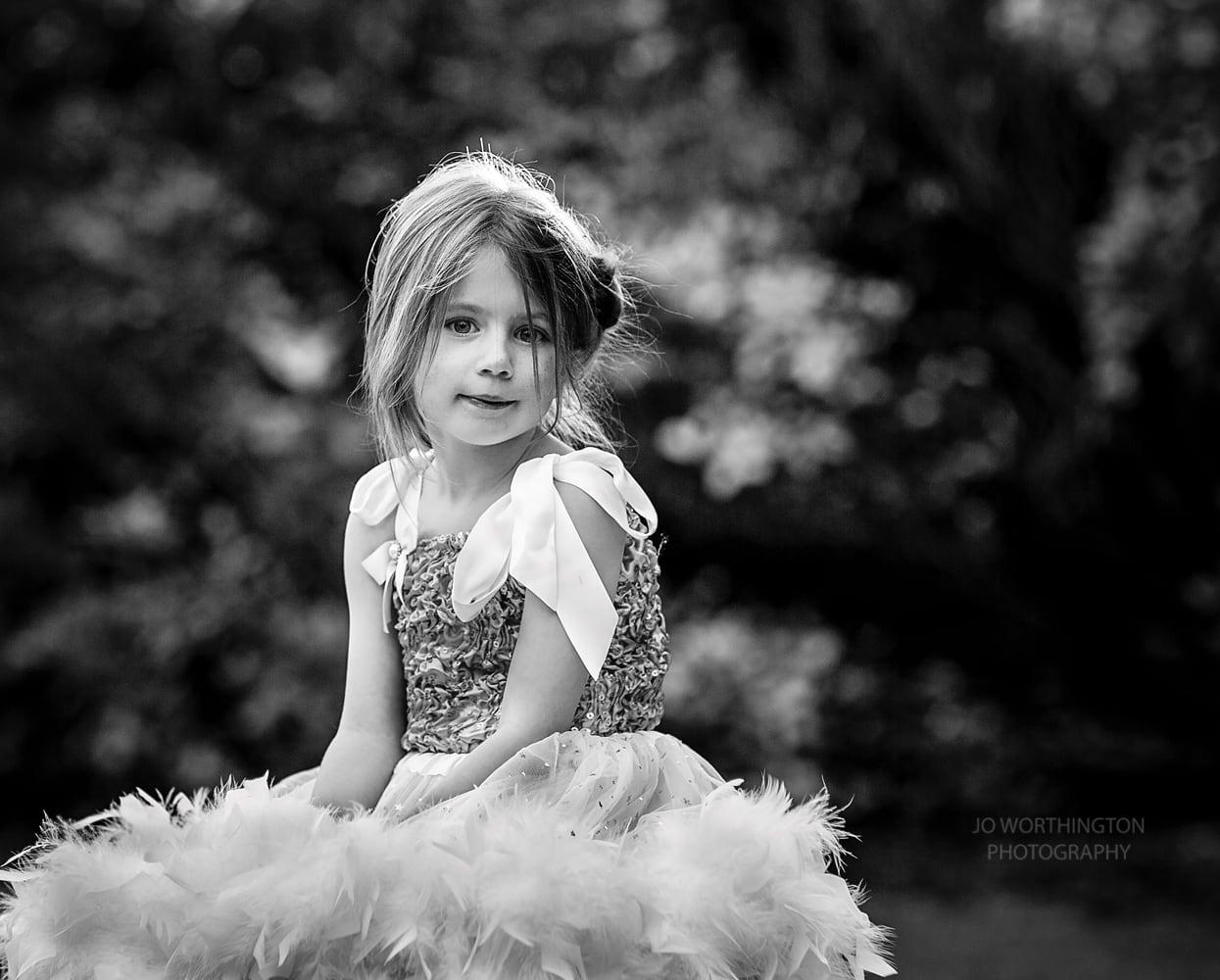 Girl in tutu Exbury Gardens black and white photo