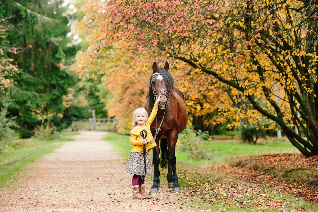 girl and chestnut pony Autumn photoshoot New Forest