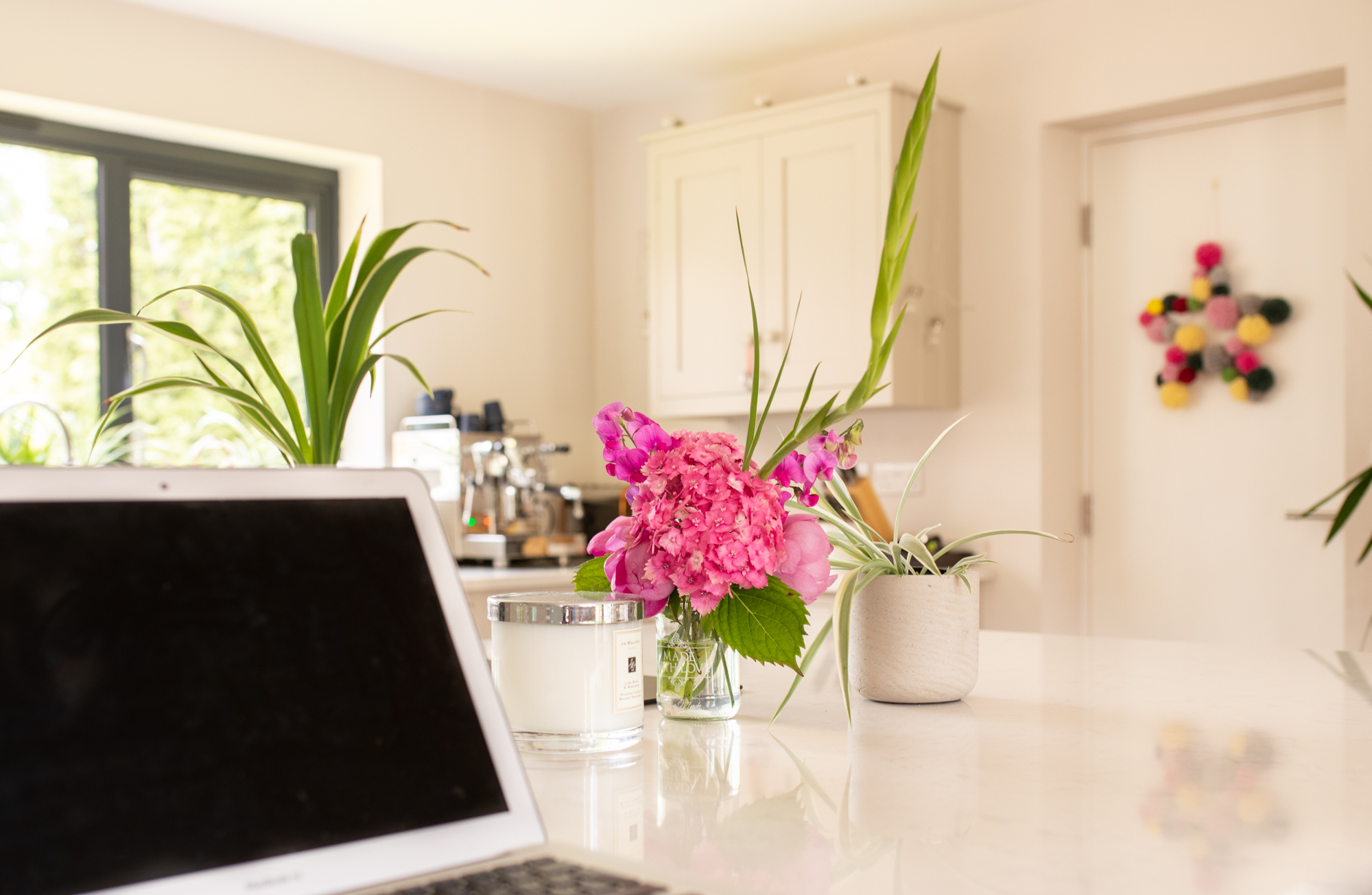 laptop and flowers social media stock photo